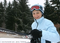 Alexandra goes skiing in the Swiss Alps